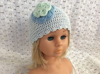 LIGHT BLUE CROCHET BABY BEANIE  WITH FLOWER - 12 months made in WA