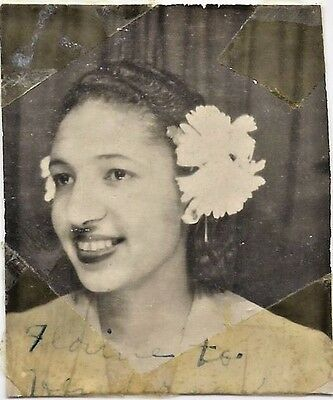 Antique African American Pretty Young Woman Photo Booth Old Black Americana