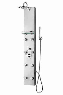 "57"" Stainless Steel Shower Panel Tower 8 Massage Spray Jets Spa Rainfal Faucet"