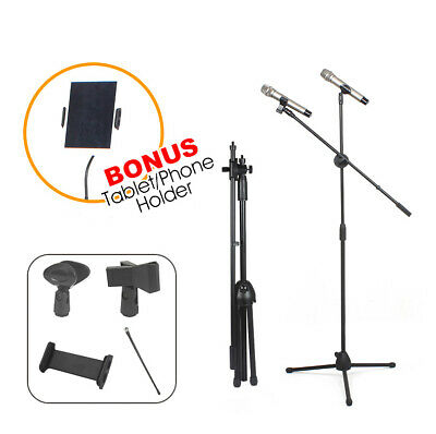 Adjustable  Microphone Boom Stand Telescopic Mic iPad Tablet Holder 2Clips Mount