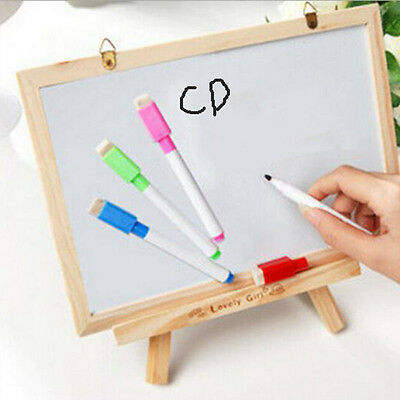 4pcs/set  White Board Markers Dry Wipe Pens With Eraser-3 Regular Color