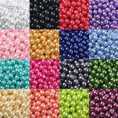 20/30/50/100Pcs Glass Pearl Round Spacer Loose Beads 4mm/6mm/8mm/10mm Hot