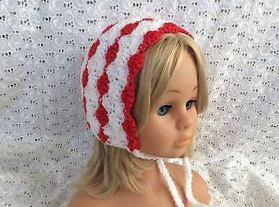 RED & WHITE SHELL CROCHET BABY BEANIE 12 to 18 months made in WA