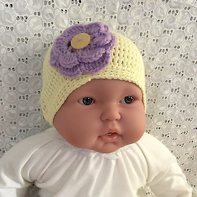 Lemon yellow BABY CROCHET BEANIE with purpl flower  - 0 to 3 months  made in WA