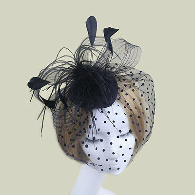 Elegant Feather Fascinator Hat Top Headband Cocktail Wedding Party Headpiece