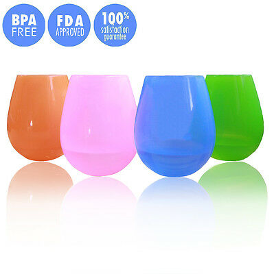Set of 4 Silicone Wine Glasses Cup Unbreakable Drinking Cup Flexible Beer Cup