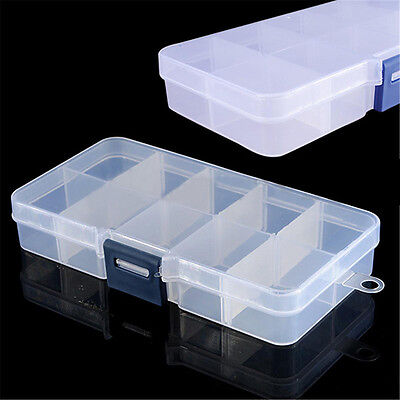 Clear Plastic 10Compartments Storage Container Case Fishing Bait Lure Tackle Box