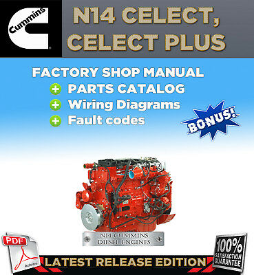 cummins n14 celect plus diesel engine shop service repair