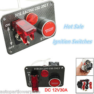 Carbon-Look Car Racing Engine Start Push Button Toggle Ignition Switches Panel