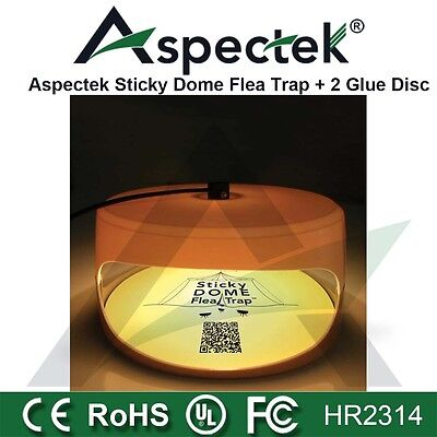 Aspectek ✧ Sticky Dome Flea Trap + 2 Glue Discs Kills Dog Fleas Mosquitos HR2314
