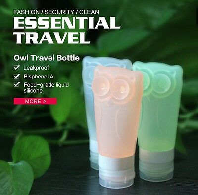 Set of 3 Owl Leakproof Portable Soft Silicone Travel Bottle for Business Travel