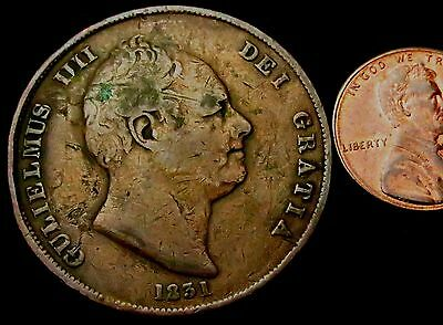 R859: 1831 William IV Large Copper PENNY - Spink 3845