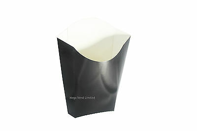 Black Disposable Takeaway Cardboard Large Chip Scoop Boxes Fast Food Packaging