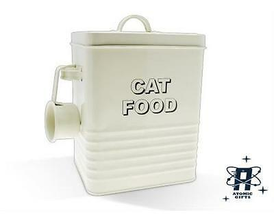 Vintage Retro Style Cream Enamel Large Cat Food Storage Container Tin New