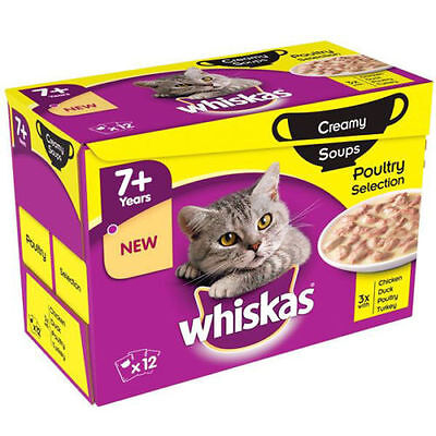 Whiskas 7+ Cat Pouches Creamy Soup Poultry 12x85g Pack of 4