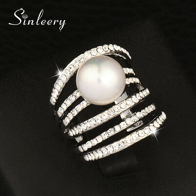 Big Hollow Cubic Zirconia Pearl Multilayers Rings Gold Sliver For Women Cocktail