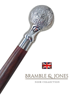 Silver Ball Cane with Black hardwood Shaft and rubber furrel Walking Stick