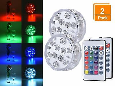 Swimming Pool Light LED Bulb Underwater 2 Pack Magnetic Lamps Remote Control NEW