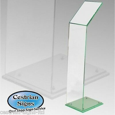 New A4 Green Acrylic Freestanding Menu or Brochure Holder Display Stand Board