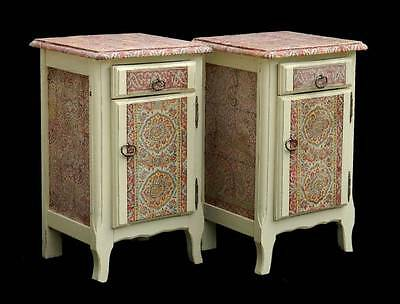Mid Century French Pair Side Cabinets Nightstand Bedside Tables Boho Chic Fabric