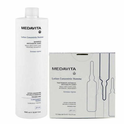 MEDAVITA Lotion Concentree Homme Shampoo 1000ml + Fiale Anticaduta 13x6ml