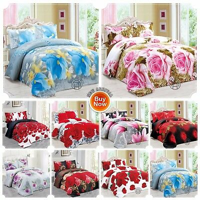 3D Effect Duvet Quilt Cover Bedding Sets with FITTED SHEET & Pillow Cases Floral