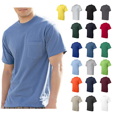 Hanes Mens Beefy-T Pocket Tee Crew neck Plain Cotton T-Shirt S-3XL - 5190