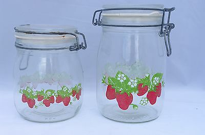 Carlton Glass Ermetico 1L and 3/4L Jars Canisters Set Strawberries Wire Lock Lid