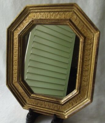 "Vintage Italian Gold Gilt Florentine Toleware Octagon Shaped Mirror 6-3/4"" T"