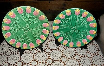 "RARE VINTAGE GREEN PLATE w/ PINK TULIPS by ALBERT KESSLER & CO. 8.5"" PLATE JAPAN"
