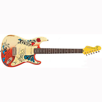 Vintage V6MRHDX Icon Series Summer of Love Electric Guitar Daniel Hahn Graphic