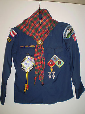 BSA BOY SCOUTS Uniform Boys Vintage Late 80s - 1990s Handkerchiefs Patches Hat