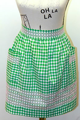 VTG Half Apron Green/ PinK Gingham Feels Cotton With Hand Cross Stitch Design