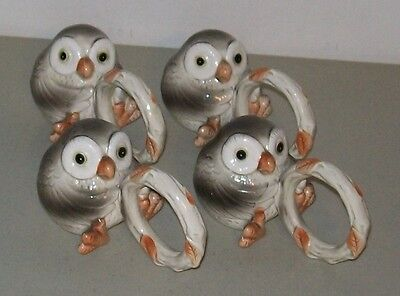 Fitz and Floyd Napkin Ring Holders (Set of 4) *SPOTTED OWL*