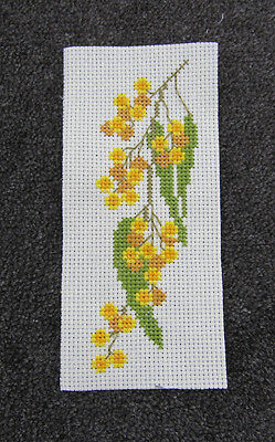 HAND MADE aida cloth CROSS STITCH art AUSTRALIAN wattle BUSH flora EMBROIDERY