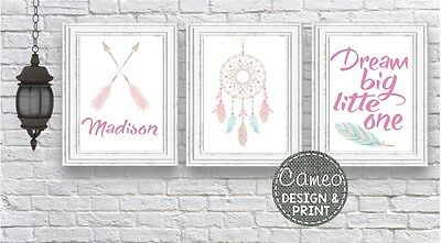 3 x Girls A4 Nursery Wall Prints (2406) personalised baby room art dream catcher