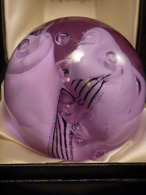 """Signed Caithness Of Scotland Studio Alexandrite """"Snow Trails"""" Paperweight 3 1/2"""