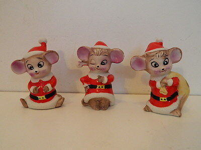 3 Vintage Christmas Mice Mouse Funny Faces Winking Eye Bisque Porcelain Figurine