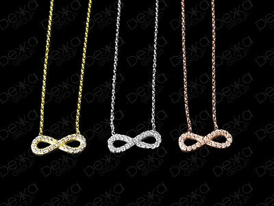 Sterling Silver Gold Rose Infinity Eternity Cubic Zirconia Necklace CZ Crystals