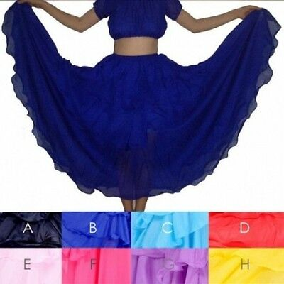 Belly Dance Tiered Skirt Full Circle Tribal Dancing Layers Full Circle Dress