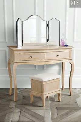Les Milles Dressing Table Console Solid Oak Traditional Style