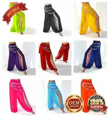 On Sale Harem Pants Belly Dance Bollywood Chiffon Paillettes Dress up Costume