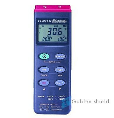 CENTER 306 Thermomter (K Type,Dual Inputs Datalogger) -200~1370°C -328~2498 °F
