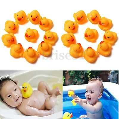 12 Pcs Colorful Baby Children Kids Bath Toys Cute Rubber Squeaky Duck Ducky P/&C