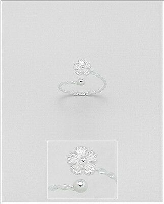 925 Sterling Silver Cute Flower Design Twist Band Toe Ring Adjustable Jewellery