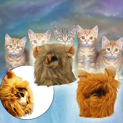 Pet Costume Lion Mane Wig Head Hat for Cat Small Dog Festival Clothes with Ears