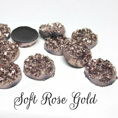 10 x Druzy 12mm Cabochon Shades of Glorious Shiny Blues Perfect for Earrings.
