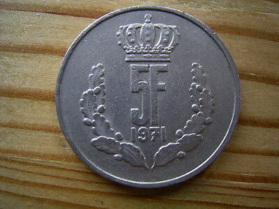 1971  Luxembourg 5 Franc Coin Collectable
