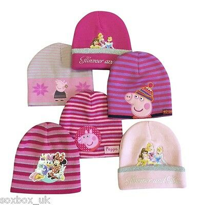 Girls Knitted Warm Beanie Hats, Peppa Pig, Minnie, Disney Princess, One Size