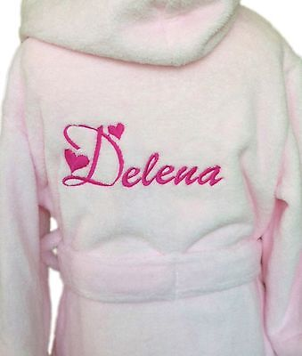 Kids Dressing gown personalised white bathrobe girls pink boys name 6m - 10years